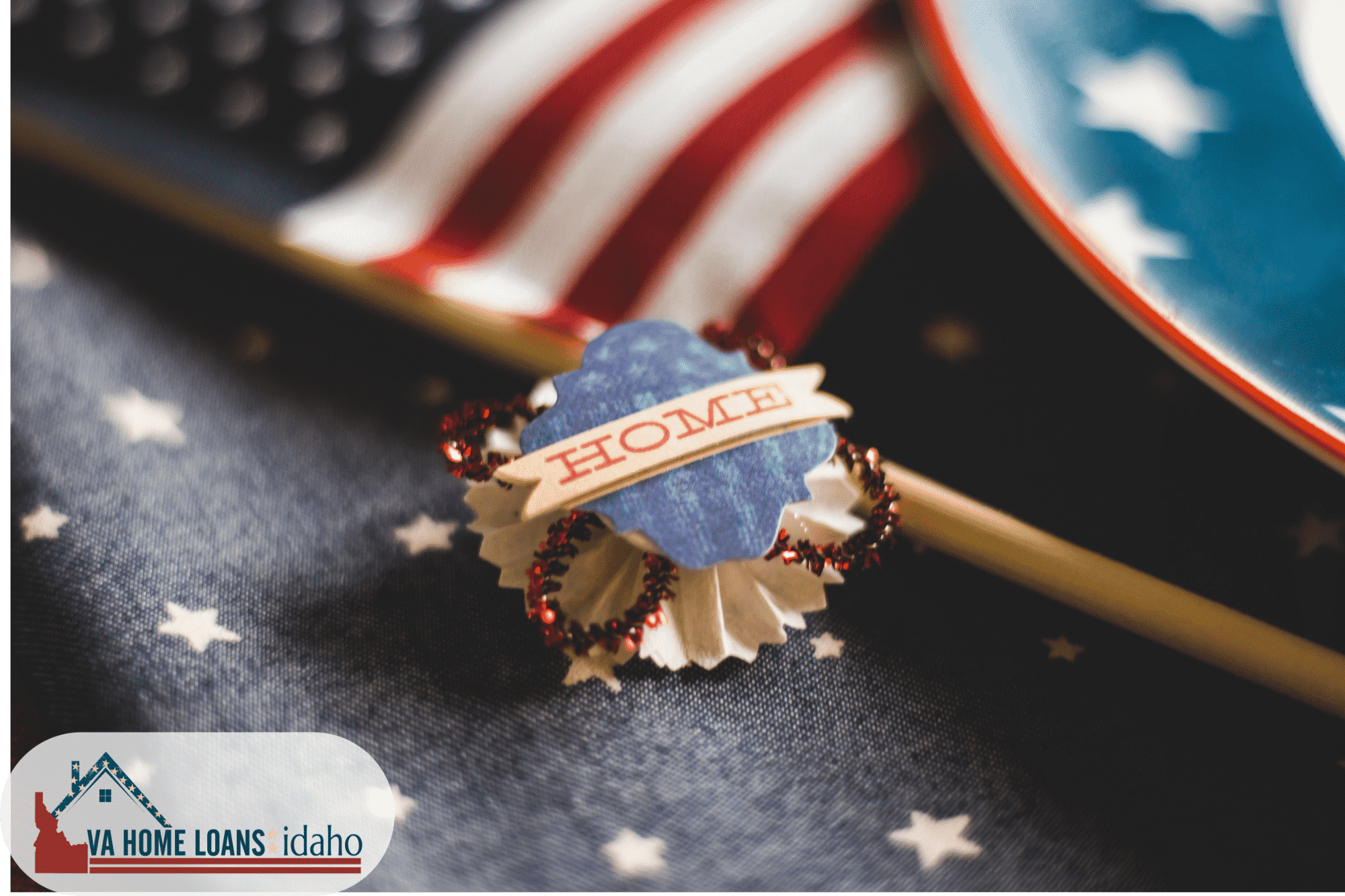 A Home pin with american flag behind it.