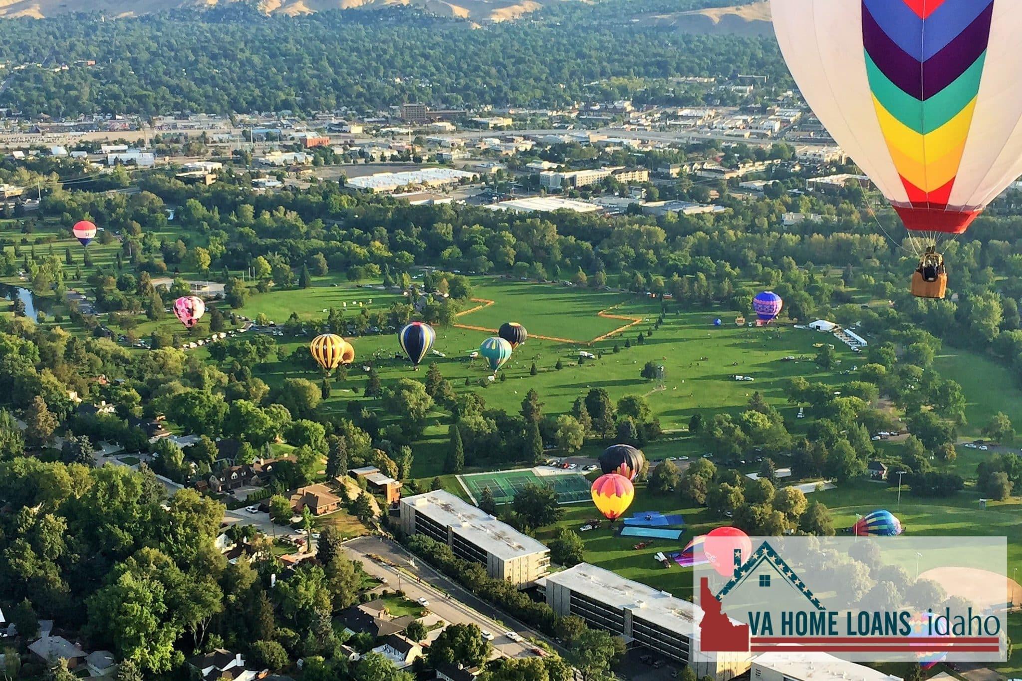 Hot air balloons landing in Ann Morrison park in Boise